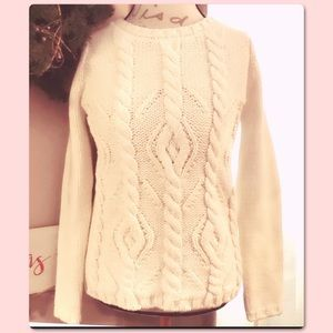 BANANA REPUBLIC CABLE CHUNKY KNIT WOOL SWEATER S
